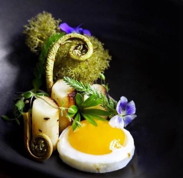 Syltet strudsbregne, kærnemælkspocheret skorzone, forårsblomster og spirer, sprød mos og økologisk æg. Brændenælde bouillon serveres ved bordet. Anrettet af Simon-Marcell Davidsen